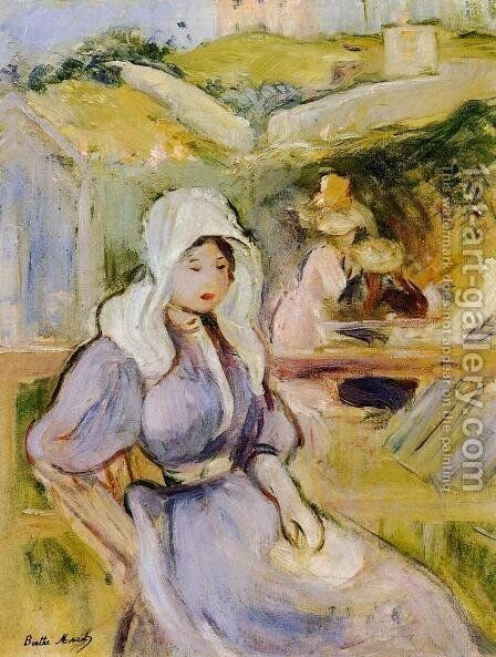 On The Beach At Portrieux by Berthe Morisot - Reproduction Oil Painting