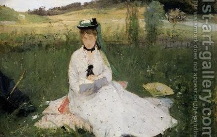 Reading With Green Umbrella by Berthe Morisot - Reproduction Oil Painting