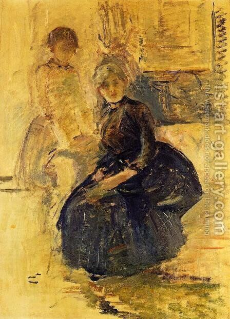Self Portrait With Julie (study) by Berthe Morisot - Reproduction Oil Painting