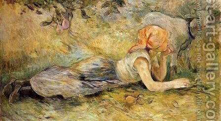 Shepherdess Laying Down by Berthe Morisot - Reproduction Oil Painting