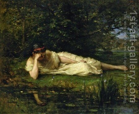 Study   The Waters Edge by Berthe Morisot - Reproduction Oil Painting
