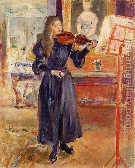 Studying The Violin by Berthe Morisot - Reproduction Oil Painting