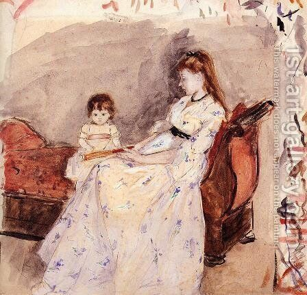 The Artists Sister Edma With Her Daughter Jeanne by Berthe Morisot - Reproduction Oil Painting