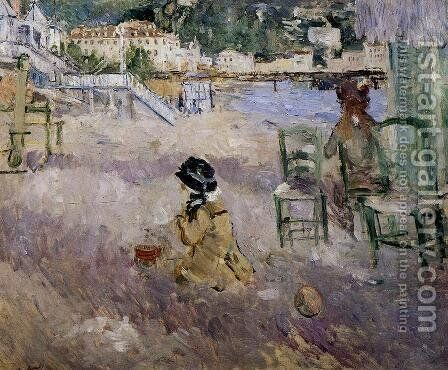 The Beach At Nice by Berthe Morisot - Reproduction Oil Painting