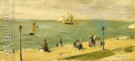 The Beach At Petit Dalles Aka On The Beach by Berthe Morisot - Reproduction Oil Painting
