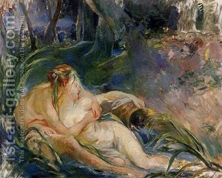Two Nymphs Embracing by Berthe Morisot - Reproduction Oil Painting
