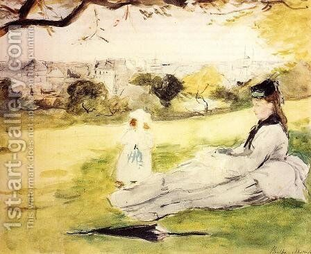 Woman And Child Seated In A Meadow by Berthe Morisot - Reproduction Oil Painting
