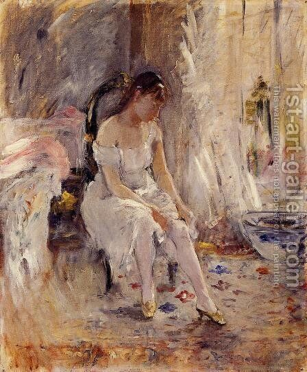 Woman Getting Dressed Aka Young Woman Fastening Her Stockings by Berthe Morisot - Reproduction Oil Painting