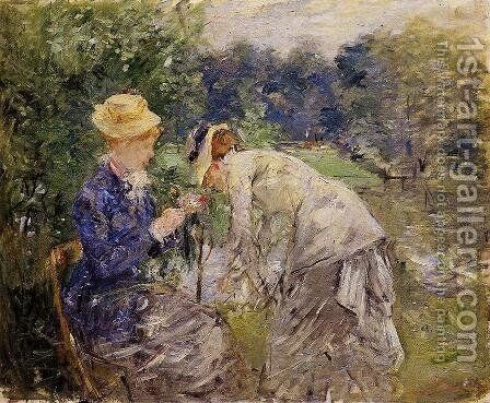 Woman Picking Flowers by Berthe Morisot - Reproduction Oil Painting