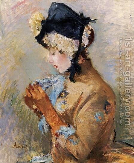 Woman Wearing Gloves Aka The Parisian by Berthe Morisot - Reproduction Oil Painting