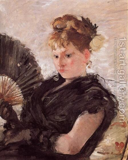 Woman with a Fan (Head of a Girl) 1876 by Berthe Morisot - Reproduction Oil Painting
