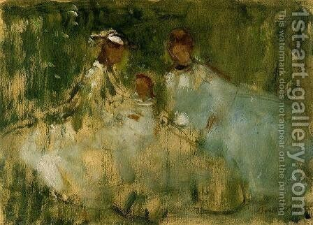 Women And Little Girls In A Natural Setting by Berthe Morisot - Reproduction Oil Painting
