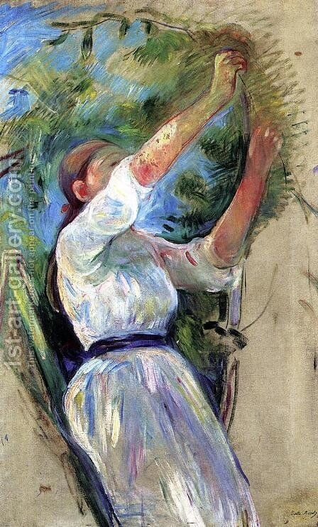 Young Girl Picking Cherries by Berthe Morisot - Reproduction Oil Painting