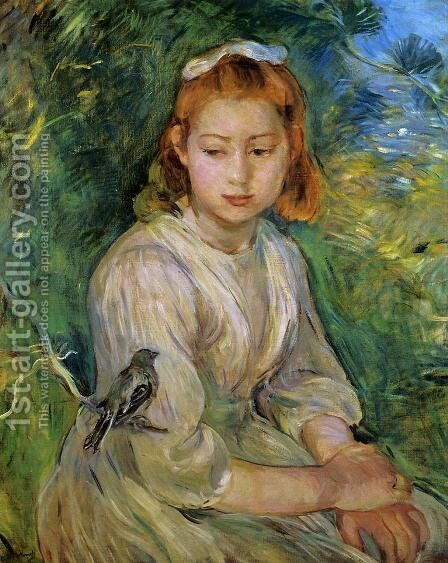 Young Girl With A Bird by Berthe Morisot - Reproduction Oil Painting