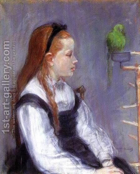 Young Girl With A Parrot by Berthe Morisot - Reproduction Oil Painting