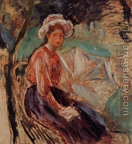 Young Girl With An Umbrella by Berthe Morisot - Reproduction Oil Painting