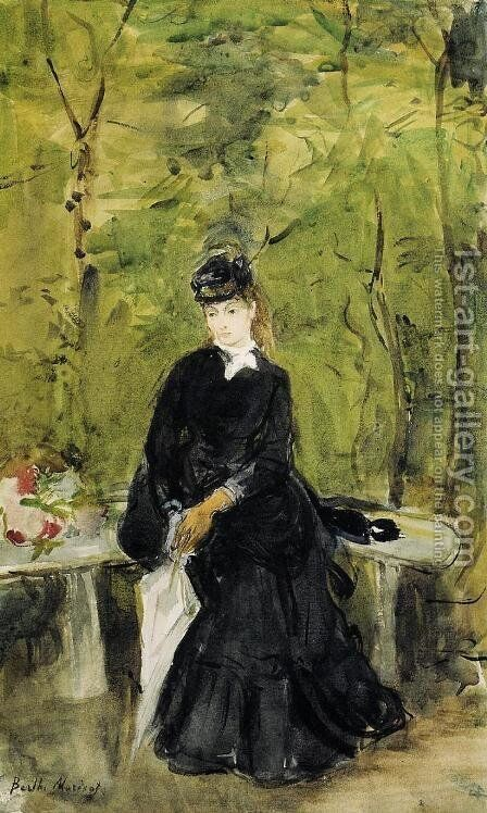 Young Lady Seated On A Bench by Berthe Morisot - Reproduction Oil Painting