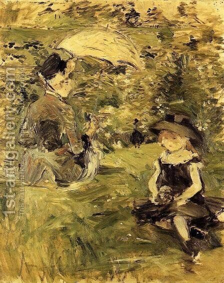 Young Woman And Child On An Isle by Berthe Morisot - Reproduction Oil Painting