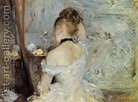 Young Woman At The Mirror Aka Young Girl Getting Dressed  Seen From The Back by Berthe Morisot - Reproduction Oil Painting