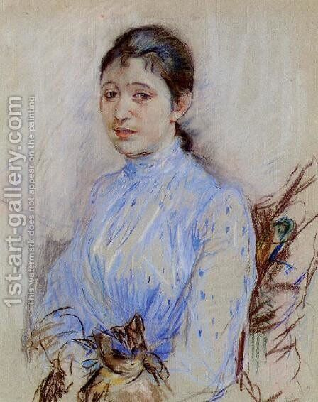 Young Woman In A Blue Blouse by Berthe Morisot - Reproduction Oil Painting