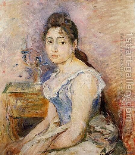 Young Woman In A Blue Blouse2 by Berthe Morisot - Reproduction Oil Painting