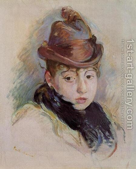 Young Woman In A Hat (Henriette Patte) by Berthe Morisot - Reproduction Oil Painting