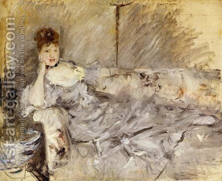 Young Woman In Grey Reclining by Berthe Morisot - Reproduction Oil Painting
