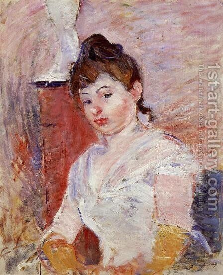 Young Woman In White by Berthe Morisot - Reproduction Oil Painting