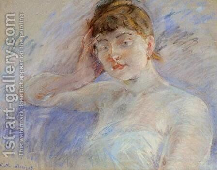 Young Woman In White Aka Isabelle Lemmonier by Berthe Morisot - Reproduction Oil Painting