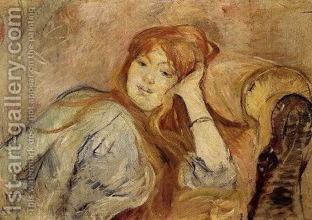 Young Woman Leaning On Her Elbow by Berthe Morisot - Reproduction Oil Painting