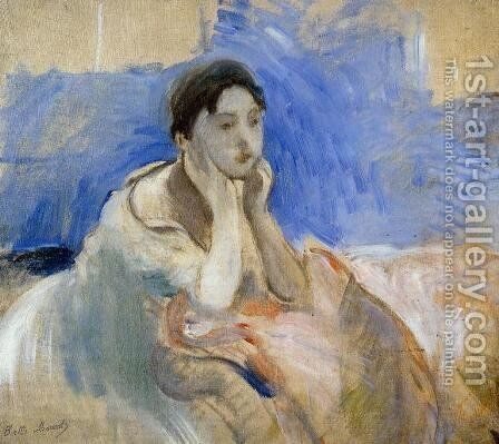 Young Woman Leaning On Her Elbows by Berthe Morisot - Reproduction Oil Painting