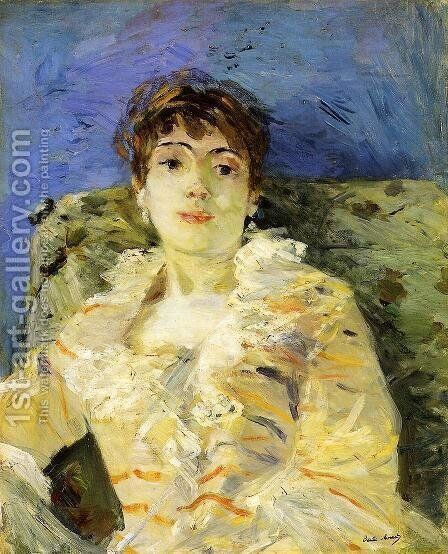 Young Woman On A Couch by Berthe Morisot - Reproduction Oil Painting