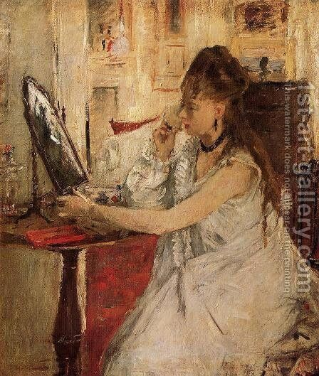 Young Woman Powdering Her Face by Berthe Morisot - Reproduction Oil Painting