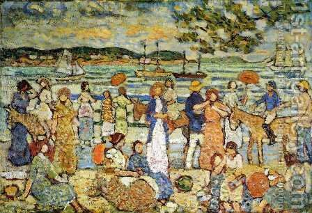 Along The Shore by Maurice Brazil Prendergast - Reproduction Oil Painting