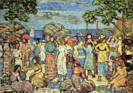 Beach At Gloucester by Maurice Brazil Prendergast - Reproduction Oil Painting