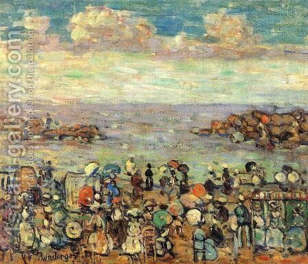 Beach At St  Malo2 by Maurice Brazil Prendergast - Reproduction Oil Painting
