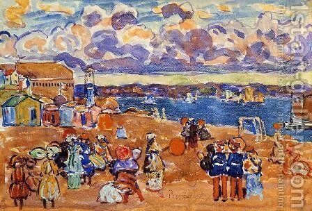 Beach At St  Malo3 by Maurice Brazil Prendergast - Reproduction Oil Painting