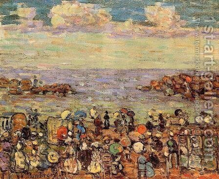 Beach At St  Malo4 by Maurice Brazil Prendergast - Reproduction Oil Painting