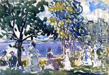Beach Promenade by Maurice Brazil Prendergast - Reproduction Oil Painting