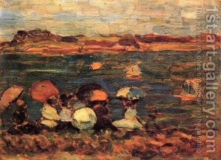 Beach Scene  St  Malo by Maurice Brazil Prendergast - Reproduction Oil Painting