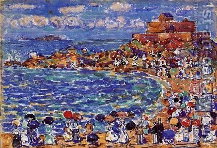 Beach  St  Malo2 by Maurice Brazil Prendergast - Reproduction Oil Painting