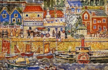 Boat Landing  Dinnard by Maurice Brazil Prendergast - Reproduction Oil Painting