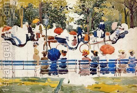 Central Park Aka Central Park  New York City by Maurice Brazil Prendergast - Reproduction Oil Painting