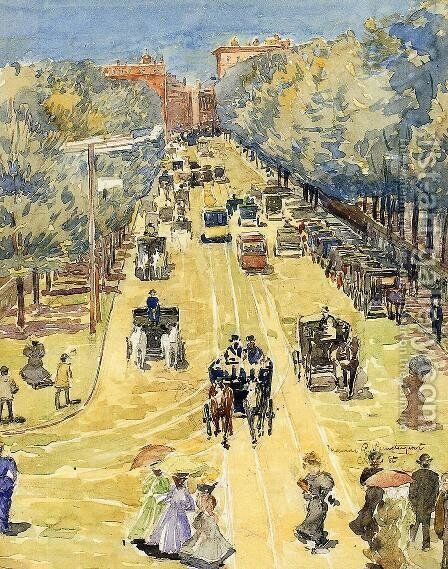 Charles Street  Boston by Maurice Brazil Prendergast - Reproduction Oil Painting