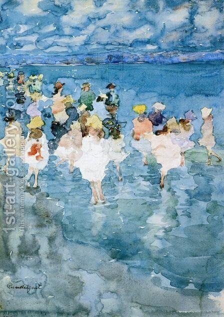 Children At The Beach by Maurice Brazil Prendergast - Reproduction Oil Painting