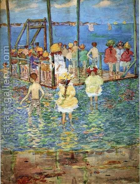 Children On A Raft by Maurice Brazil Prendergast - Reproduction Oil Painting