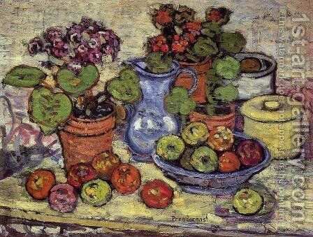 Cinerarias And Fruit by Maurice Brazil Prendergast - Reproduction Oil Painting