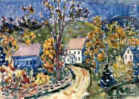 Country Road  New Hampshire by Maurice Brazil Prendergast - Reproduction Oil Painting