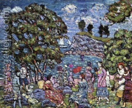 Cove With Figures by Maurice Brazil Prendergast - Reproduction Oil Painting