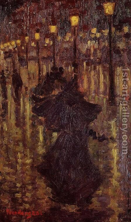 Evening Shower  Paris by Maurice Brazil Prendergast - Reproduction Oil Painting